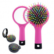 Detangling Hair Brush, Rainbow S-Curl Cushion Brush, Detangle Hair Easily, Good For Wet Or Dry Hair, Adults & Kids,Pink