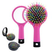 Detangling Hair Brush, Rainbow S-Curl Cushion Brush, Detangle Hair Easily, Good For Wet Or Dry Hair, Adults & Kids,Pink