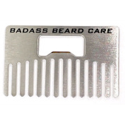 Badass Beard Care Stainless Steel Credit Card Sized Wallet Beard Comb for Men