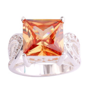 Empsoul 925 Sterling Silver Natural Novelty Filled Princess Cut 6.5ct Morganite Topaz Engagement Proposal Ring