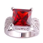Empsoul 925 Sterling Silver Natural Novelty Filled Princess Cut January Birthstone Garnet Topaz Engagement Proposal Ring