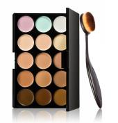Cool7 15 Colours Pro Contour Face Cream Makeup Cosmetic Concealer Palette+ Curve Foundation Brush