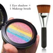 MLMSY Rainbow Cake eyeshadow makeup rainbow highlighter with a matching makeup brush