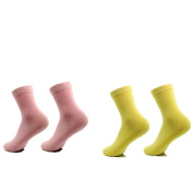 AYAOQIANG Moisturising Gel Heel Socks for Dry Hard Cracked Skin,Comfy Recovery Socks Day Night Care-2 Pair(Woman-5-8,Pink and Yellow)