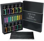Essential Oils Top 10 Aromatherapy Premium Gift Kit 100% Pure & Therapeutic grade - 6/10 Ml