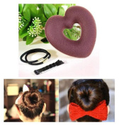 Hair Donut Heart Shape (Brown)