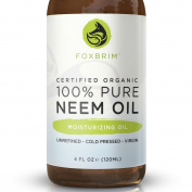 100% Pure Organic Neem Oil - Nutrient Rich Oil For Hair, Skin & Nails - Treat Acne, Fade Fine Lines, Heal Stretch Marks, Moisturise Hair & Scalp - Foxbrim 120ml