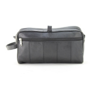 Large Lambskin Leather Double Zipper Shaving Toiletry Bag In Black