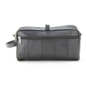 Large Lambskin Leather Double Zipper Shaving Toiletry Bag In Black