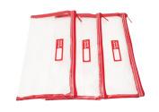 Rough Enough Red Basic Clear Transparent Case Pouch 3 Pcs Set TSA Beach Swimming Gym Yoga School Office.