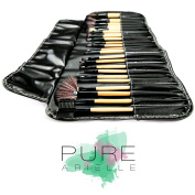 Insane Deal! Ends Today! Pure Arielle Professional 24 Piece All Natural Real Hair Makeup Brush Set - Handle Pcs Cosmetic Beauty Brushes Kit - Make Up Leather Organiser Case / Bag - Not Cheap Synthetic