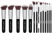 BS-MALL(TM) Premium 14 Pcs Foundation Concealers Eye Shadows Silver Black Makeup Brush Sets
