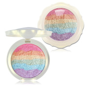 KIMUSE Baked Rainbow Highlighter Makeup Palette Cosmetic Blusher Shimmer Powder Contour Eyeshadow