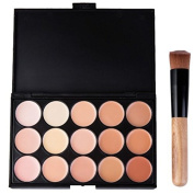 Chamberain Professional 15 Colour Concealer Palette Makeup Cosmetic Face Cream Contour Contouring Foundation Makeup Kit with Powder Brush