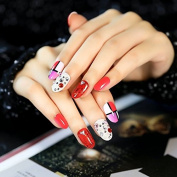 24pcs Sexy Red Glitter Sheet Rhinestones False Nails Tips White Hot Pink Fake Nail Simple Package Z160
