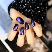 24pcs Dreamlike Cat's Eye Opal False Nails Tips Dark Purple Ultra Fine Glitter Round Head Fake Nail