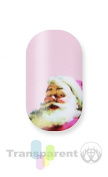 Minx Nails Christmas Santa on Pale Pink Nail Decals Transparent