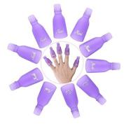 GBSTORE(10Pcs) Acrylic Nail Art UV Gel Polish Remover Wrap Cleaner Clip Caps