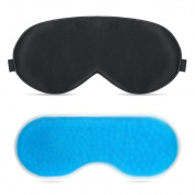 Sleep Mask, PLEMO Eye Mask Set with Gel Pack, Breathe-Easy Eye Shade for Bedtime & Travel, Hot & Cold Therapy for Insomnia, Puffy Eyes & Dark Circles