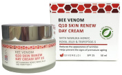 Bee Venom Q10 Skin Renew Day Cream SPF 25 - 50 ml - Natural & Organic anti-ageing facial moisturiser and wrinkle filler with Manuka Honey, Royal Jelly, Co-Enzyme Q10, Tripeptide and Collagen protein