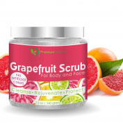 Grapefruit Scrub For Face & Body 100% Natural Facial Cleanser With Sea Salt and Essential Oils - Clears Acne , Exfoliates, Moisturises, Radiant Skin Complexion, 350ml, By Premium Nature
