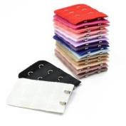 17pcs 2 Hook 3 Rows Assorted Random Colours Women Spacing Bra Clip Extender Strap