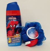 Marvel Ultimate Spiderman Superpower Punch Bath Bundle 590ml Matching Sponge