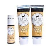 Dionis Goat Milk Hand Cream and Lip Balm 3 Piece Gift Set - Vanilla Bean