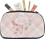 Modern Plaid & Floral Makeup Bag