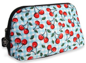 Liquorbrand Rockabilly Cherries Blue Gingham Plaid Travel Pouch Cosmetic Bag