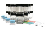 Clear 120ml Plastic Jar Black Lid 20 pk with Mini Jars
