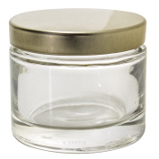 Clear Glass Heavy Wall Balm Jars with Gold Metal Foam Lined Lids (6 Pack)- 2 oz / 60 ml