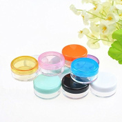 Akak Store 10 Pcs 3 Gramme Size High Quality Empty Clear Multi-Colour Lid Plastic Cosmetic Lip Balm Lip Gloss Eyeshadow Container Jars