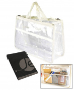 JAVOedge Beige and Clear PVC Travel Pouch with Carrying Handles and Zipper Closure for Cosmetics, Organising, Storage