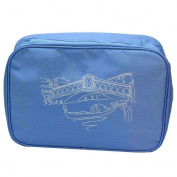 Fashion Sky Blue Women Men Travel Makeup Cosmetic Canvas Pouch Wash Bag Purse