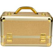 Ver Beauty Professional Aluminium Makeup Train Case, Krystal Gold