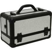 Hiker Prime Professional Aluminium Makeup Train Case, Krystal Silver