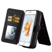 iPhone 6 Plus / 6s Plus Bag, 14cm , Ecsem® PU Wallet Coin Purse Change Purse Bag Receive Bag Phone Bag - Black