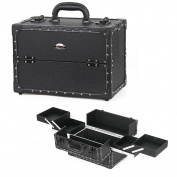 Sunrise Professional Synthetic Leather Beauty Makeup Artist Cosmetic Train Case with Lock , Black