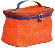 AimTrend Beautiful Lace Train Case Cosmetic Bag - Orange