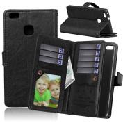 Tikeda Cases Slider Huawei P9/P9 Lite/Y635//Y625 Smartphone Wallet Stand Case (Built-in 9 Credit Card Slots, Slip Pocket; Magnetic Cover Lock)
