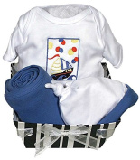 Raindrops Delightful Brights Sailboat Body Suit Gift Set, Royal Blue/Black, 0-3 Months, 4 Piece