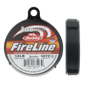 FireLine Braided Beading Thread, 6.4kg Test and 0.02cm Thick, 50 Yard Spool, Smoke Grey