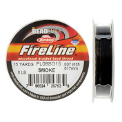 FireLine Braided Beading Thread, 3.6kg Test and 0.02cm Thick, 15 Yard Mini Spool, Smoke Grey