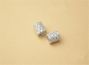 1pc Sterling Silver Zircon Pave Short Tube Bead 925 Silver Zircon Spacer Bead / Pendant 8mm*9.5mm