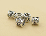 10pcs Thai Sterling Silver Plum Flower Openwork Large Hole Tube Beads 925 Thai Silver Tube Spacers 5.5mm*5.5mm