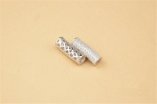 1pc Sterling Silver Zircon Pave Openwork Curved Tube Bead / Connector 925 Silver Zircon Spacer Bead / Pendant 5.5mm*16.5mm