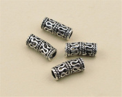10pcs Thai Sterling Silver Openwork Curved Tube Beads 925 Thai Silver Tube Spacers 3.7mm*8.8mm