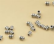 20pcs Thai Sterling Silver Small Tube Beads 925 Thai Silver Mini Tube Spacers 3.2mm*4.2mm