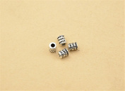 20pcs Thai Sterling Silver Small Carved Tube Beads 925 Thai Silver Tube Spacers 3.5mm*4mm